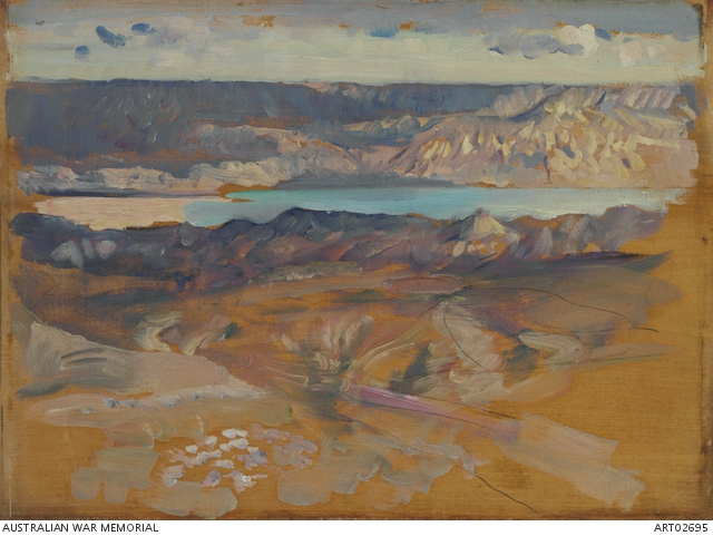 North shore of the Dead Sea seen from Jerusalem